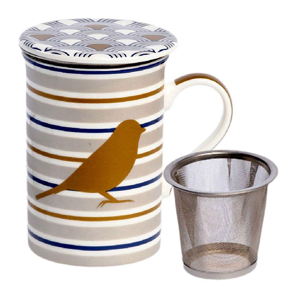 tisani re d co mug vaisselle tasse cadeau cuisine tisani re oiseau or avec infuseur m tal. Black Bedroom Furniture Sets. Home Design Ideas