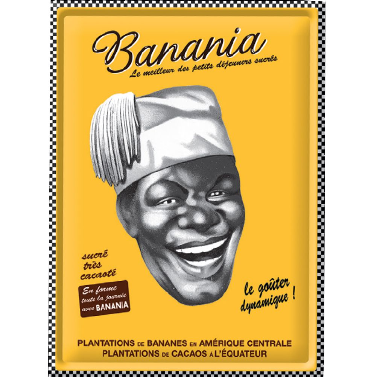 grande plaque m tal banania tirailleur s n galais damier 30 x 40 cm. Black Bedroom Furniture Sets. Home Design Ideas