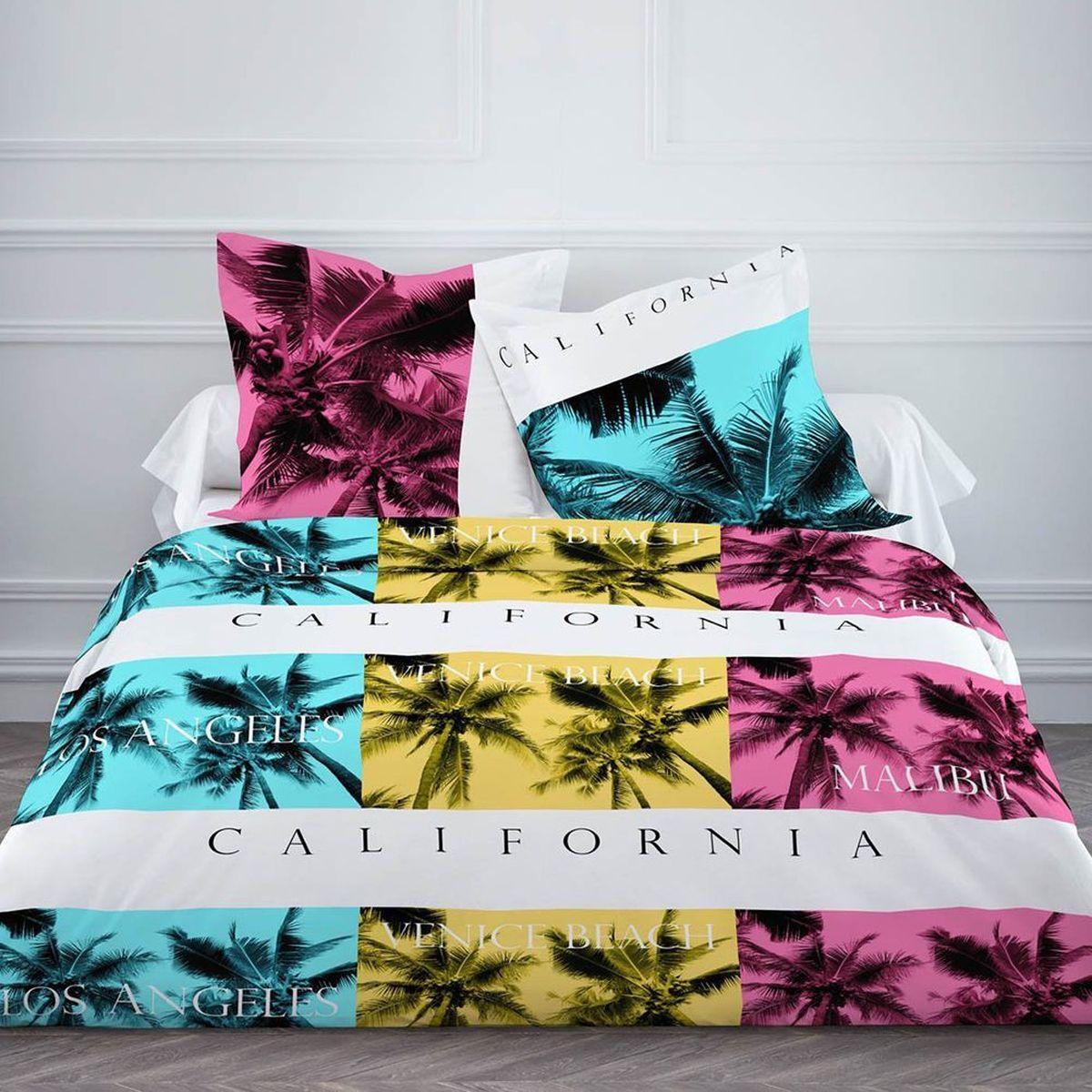 housse de couette enjoy california et deux taies 240 x 260 cm enfant fille literie linge de maison n. Black Bedroom Furniture Sets. Home Design Ideas