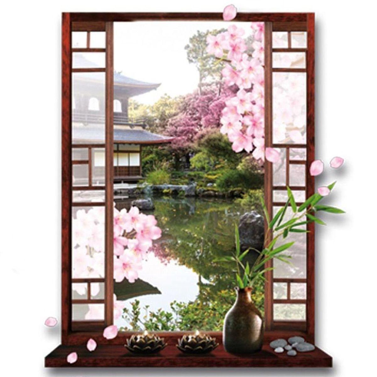Sticker trompe l 39 oeil zen jardin japonais cerisier 50 x 70 cm - Trompe l oeil jardin ...