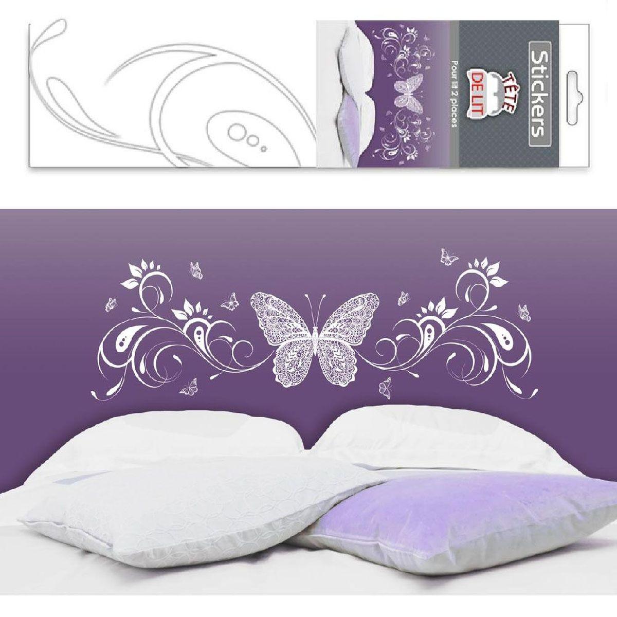 sticker mural t te de lit papillon 140 x 70 cm. Black Bedroom Furniture Sets. Home Design Ideas