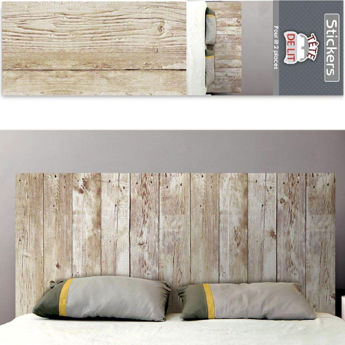 Sticker mural t te de lit bois 155 x 68 cm - Tete de lit planche bois ...