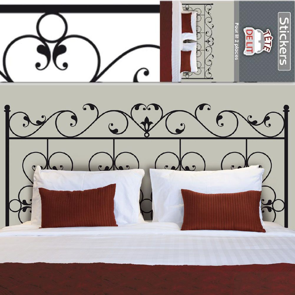 sticker mural t te de lit fer forg 155 x 68 cm. Black Bedroom Furniture Sets. Home Design Ideas
