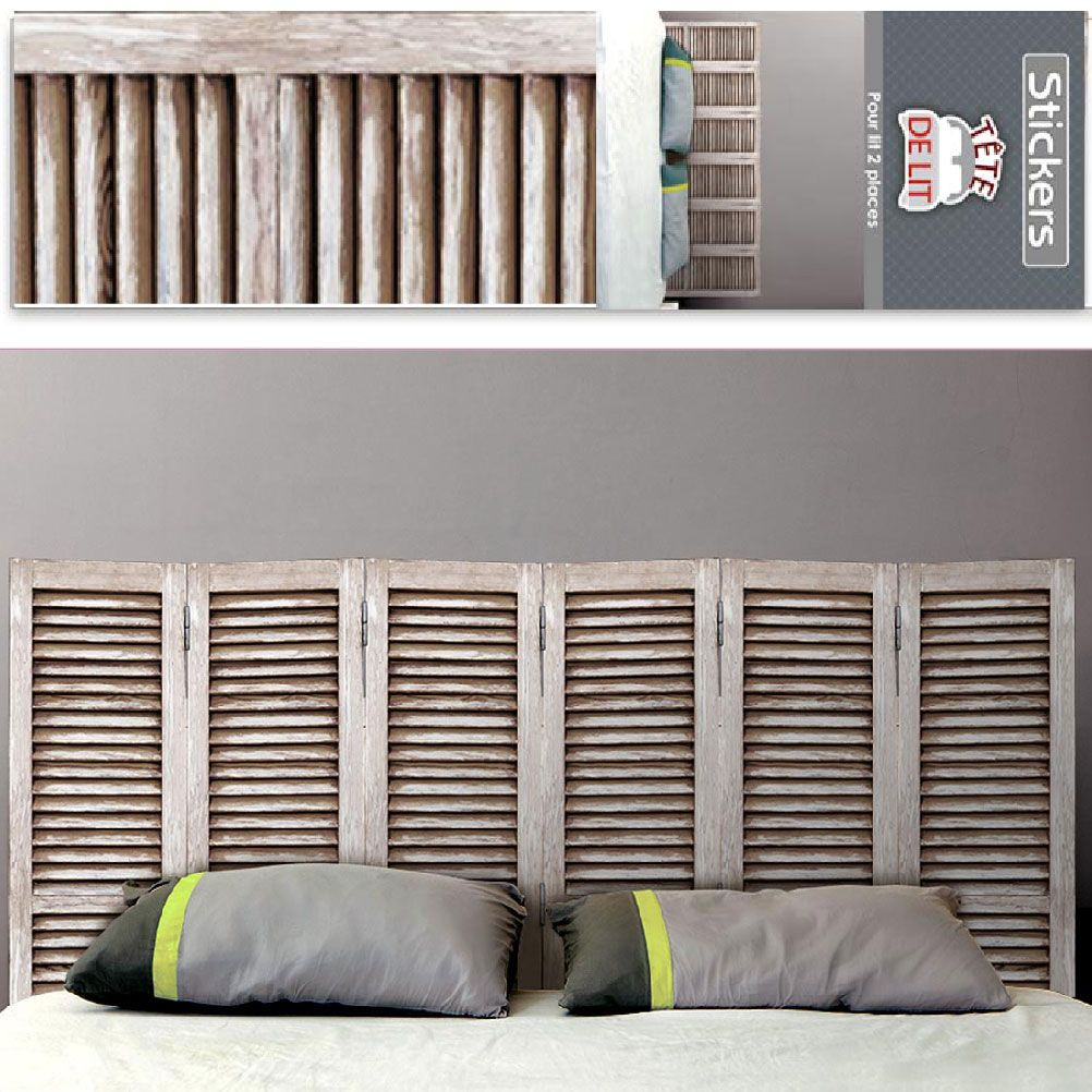 sticker mural t te de lit persienne 155 x 68 cm. Black Bedroom Furniture Sets. Home Design Ideas