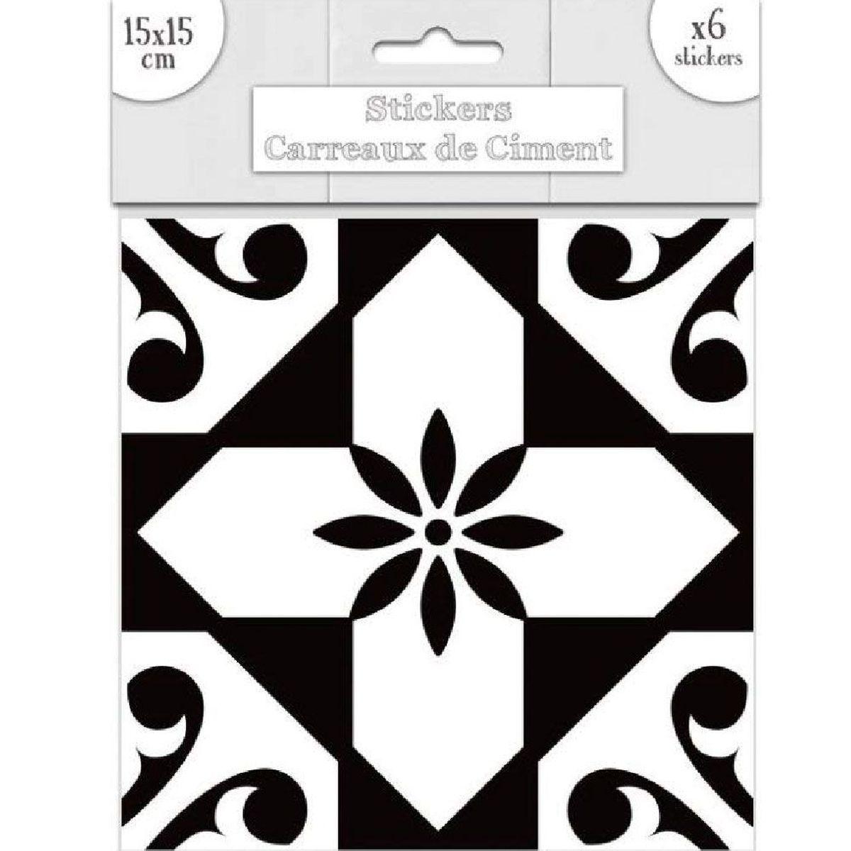 Stickers carreaux de ciment 15 x 15 cm par 6 noir et blanc Carreaux de ciment noir et blanc