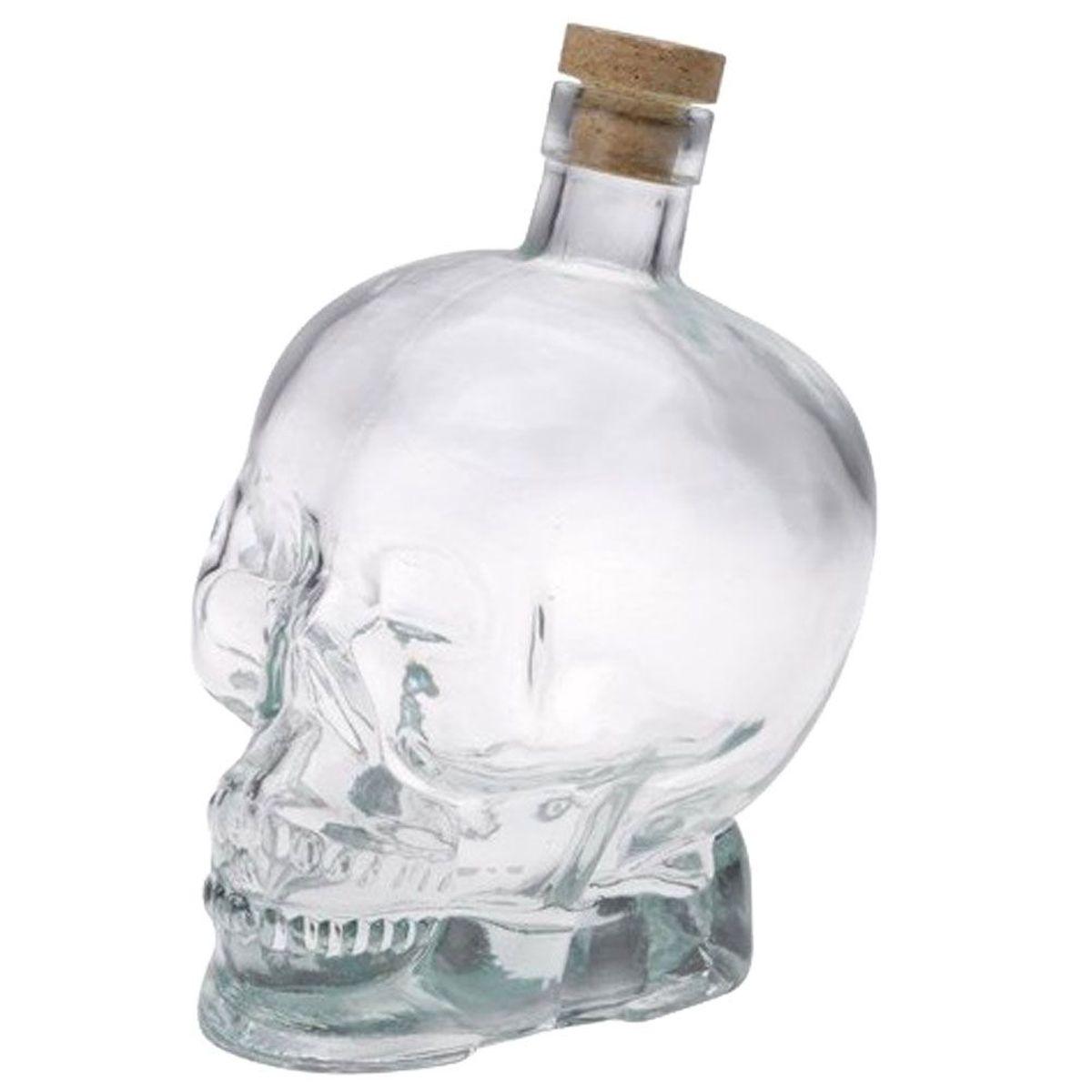 bouteille t te de mort en verre avec bouchon en li ge. Black Bedroom Furniture Sets. Home Design Ideas