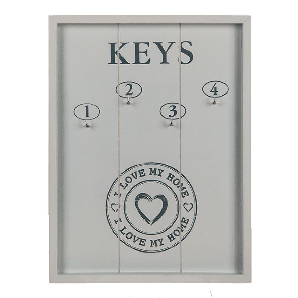 horloge d coration pendule cuisine vintage tableau cl s en bois blanc i love home 24 x 32 cm. Black Bedroom Furniture Sets. Home Design Ideas