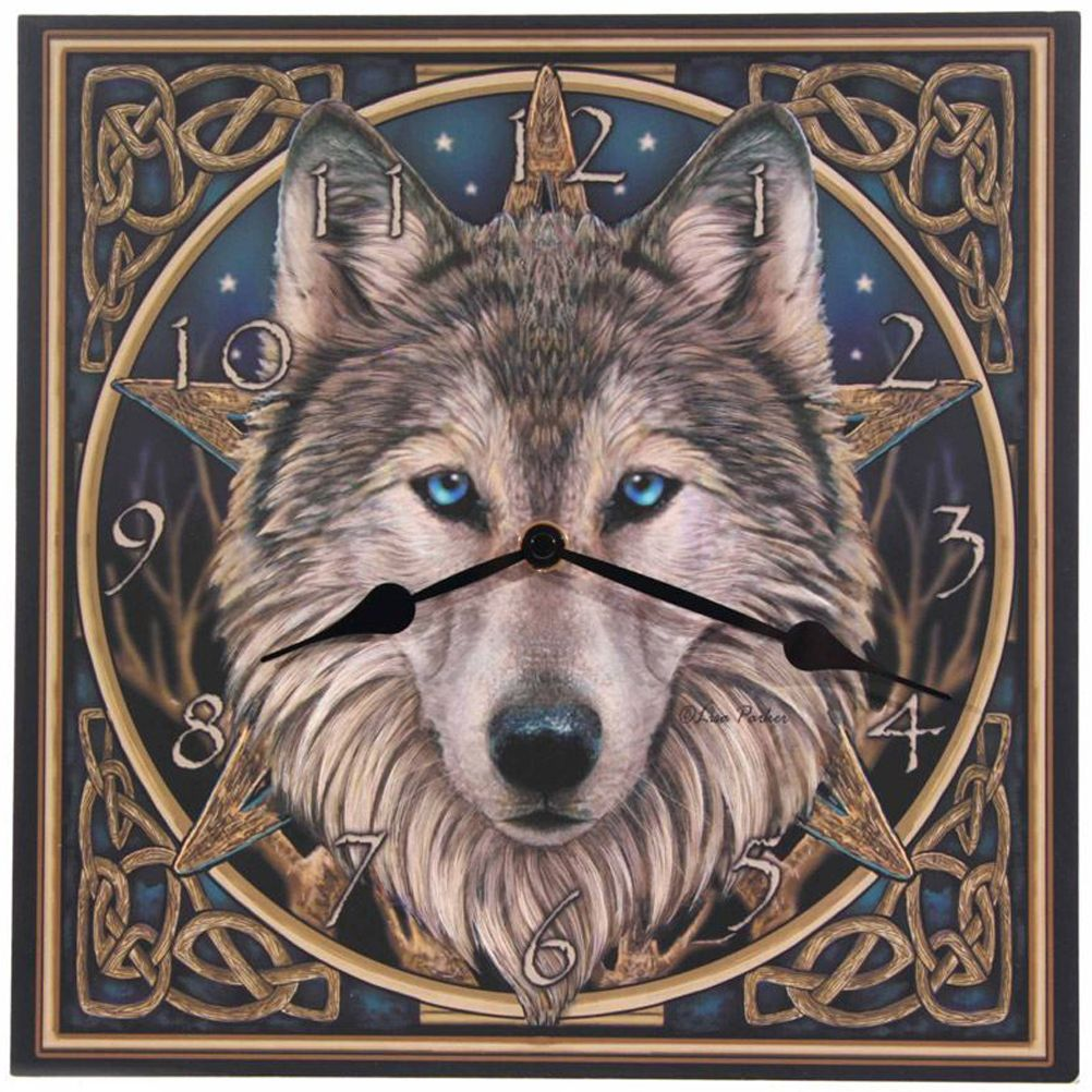 Horloge murale pendule deco design horloge loup par lisa for Decoration murale loup