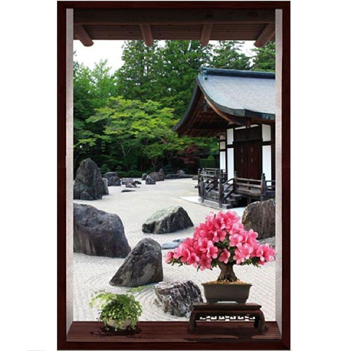 Cadre Jardin Japonais trompe l\'oeil en toile imprimée 60 x 40 cm