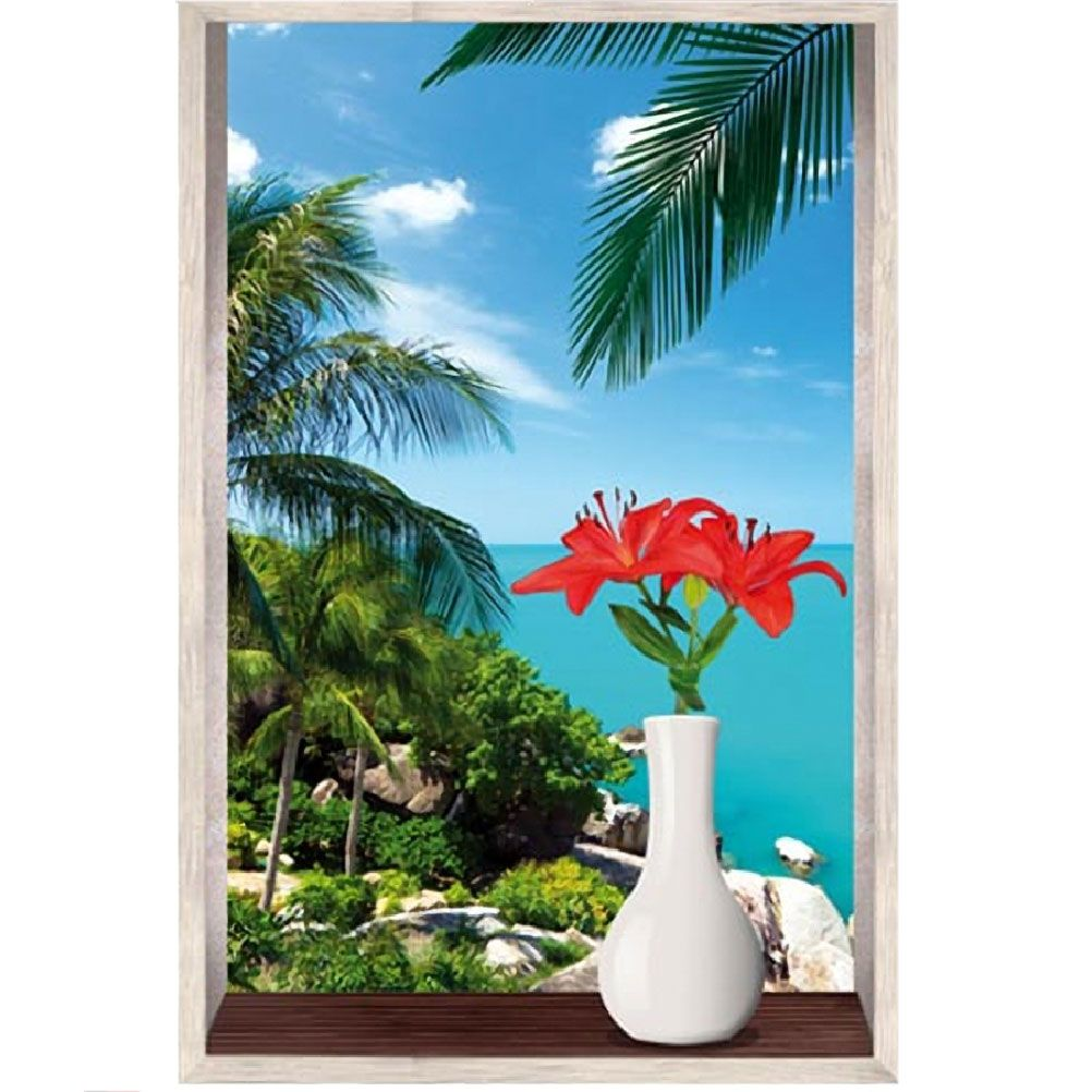 cadre zen jungle et plage trompe l 39 oeil en toile imprim e 60 x 40 cm. Black Bedroom Furniture Sets. Home Design Ideas