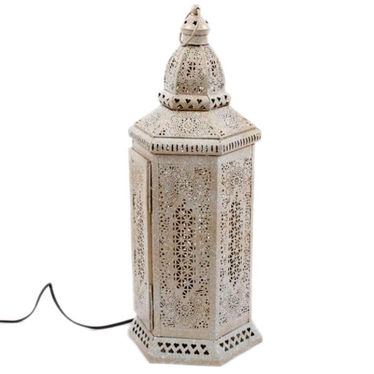 Lampe 56cm en bois patin/é blanc