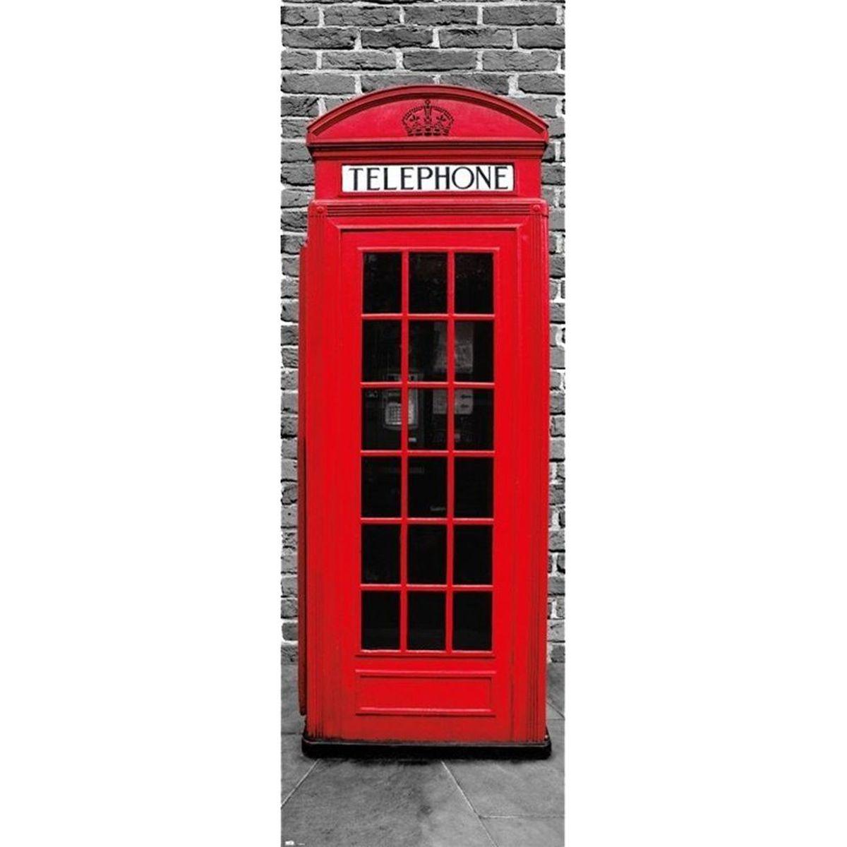 Poster de porte london cabine londonienne 53 x 158 cm for Poster de porte new york