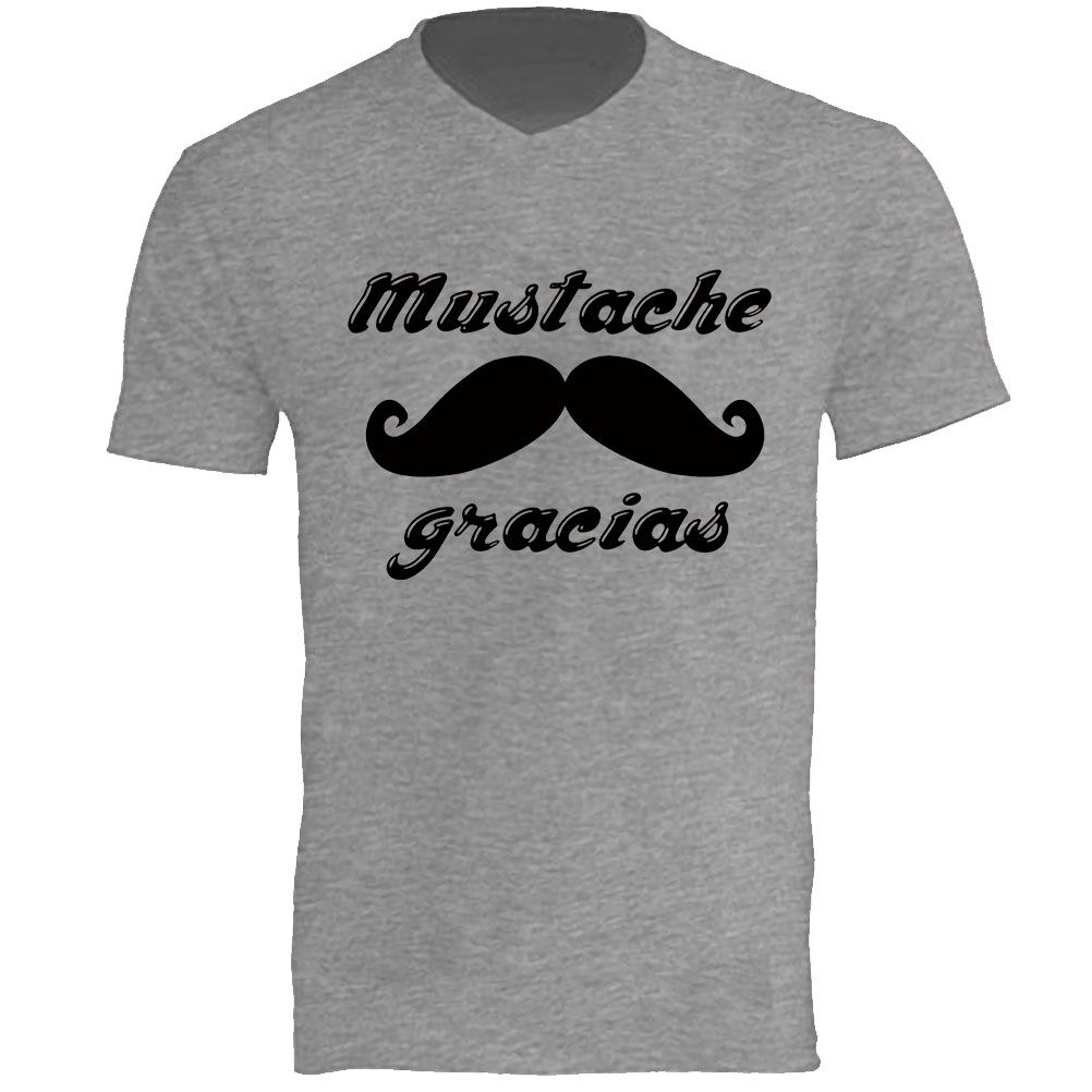Gracias Par Cbk Sérigraphié Shirt Mustache 100Coton T Gris w80nOPk