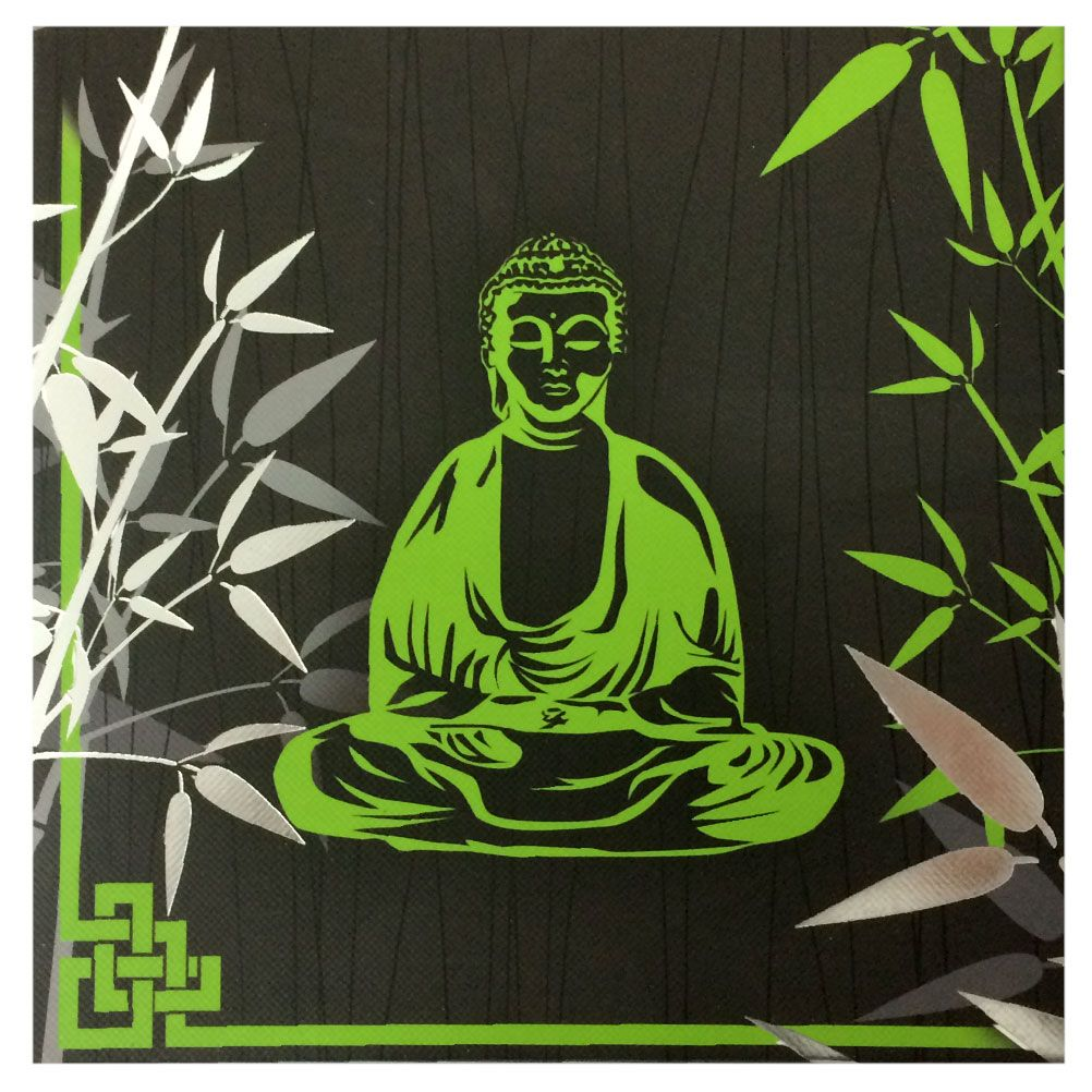 cadre en toile zen bouddha et bambou argent 20 x 20 cm. Black Bedroom Furniture Sets. Home Design Ideas