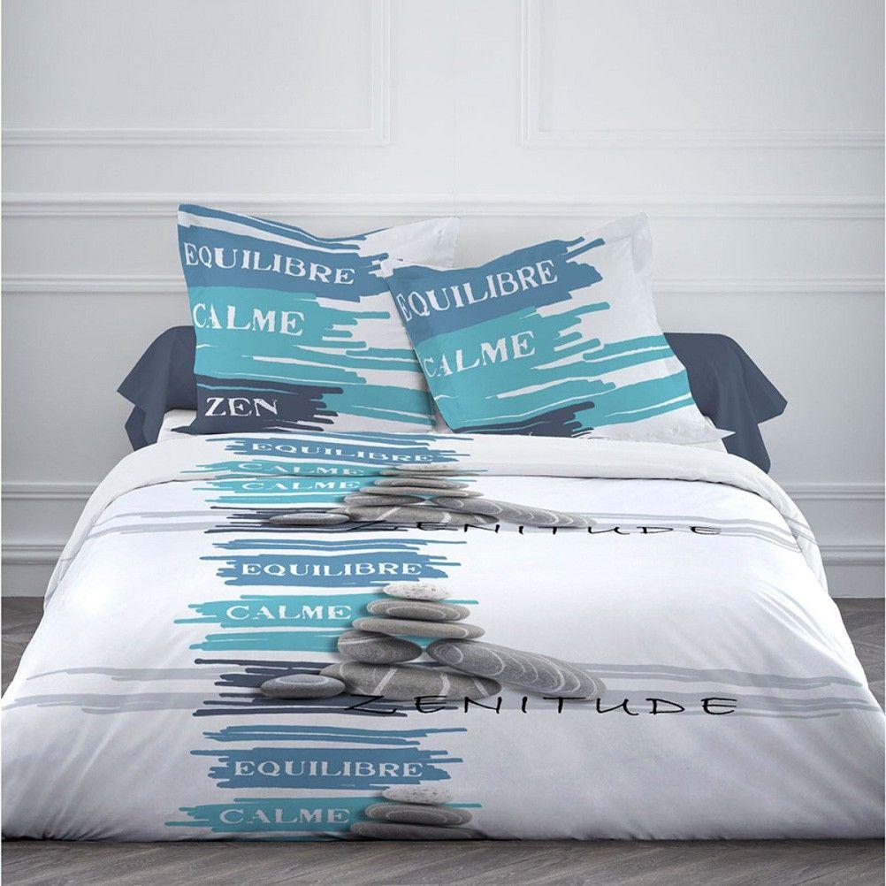 housse de couette parure de lit housse de couette zen calme equilibre et 2 taies 220 x 240 cm. Black Bedroom Furniture Sets. Home Design Ideas