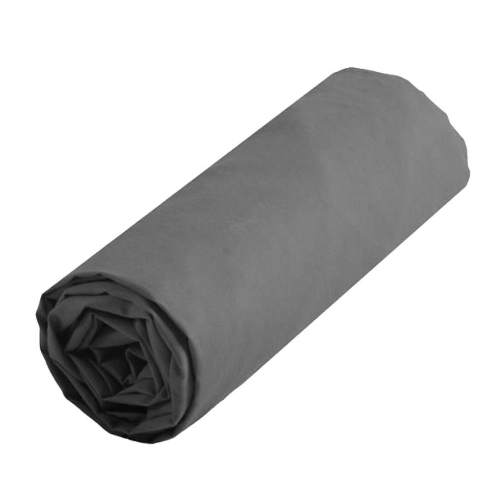 Drap housse anthracite pour lit une place 90 x 190 cm for Drap housse 140 90 pour lit evolutif