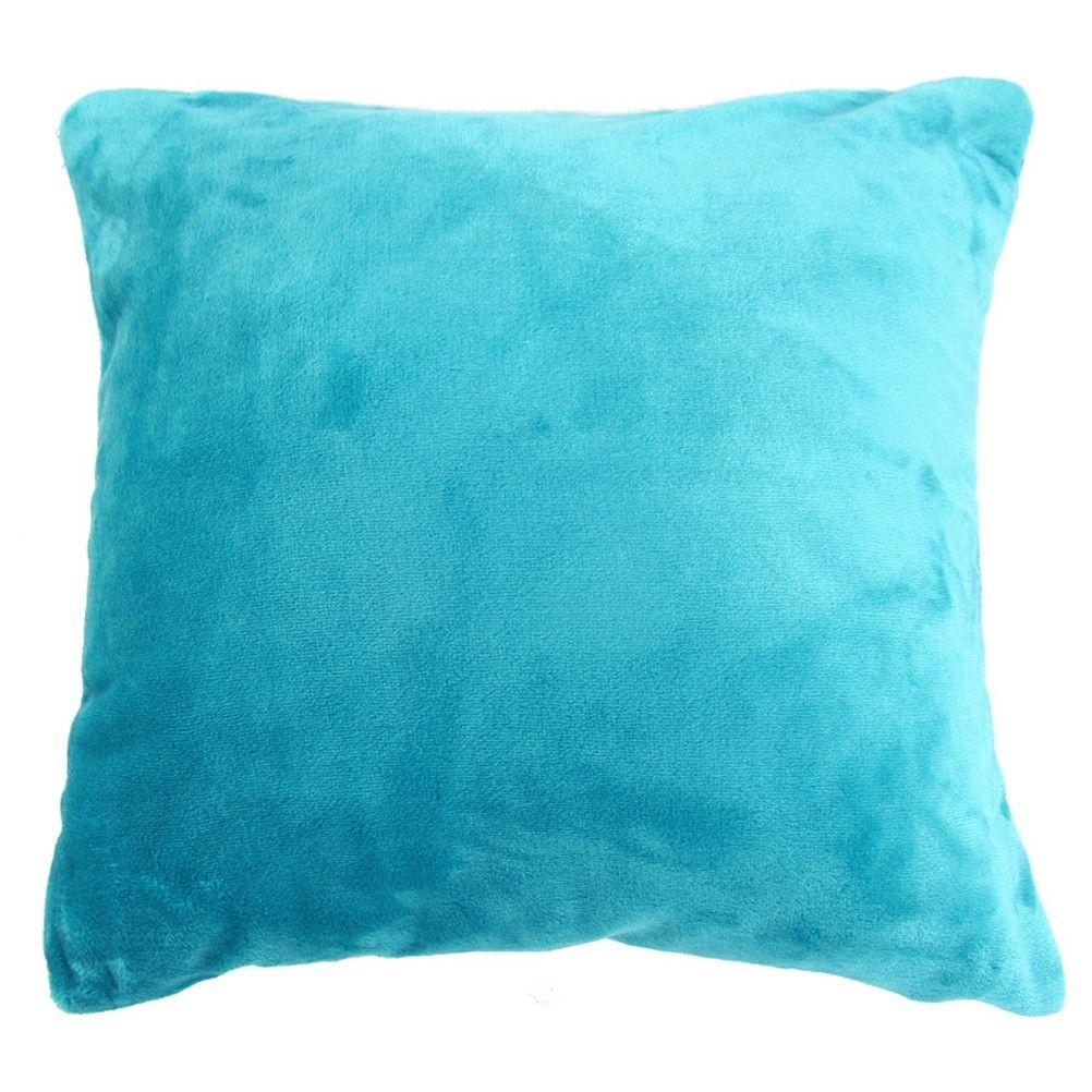 Housse de coussin en maille doudou turquoise 60 x 60 cm for Housse de coussin 60 60