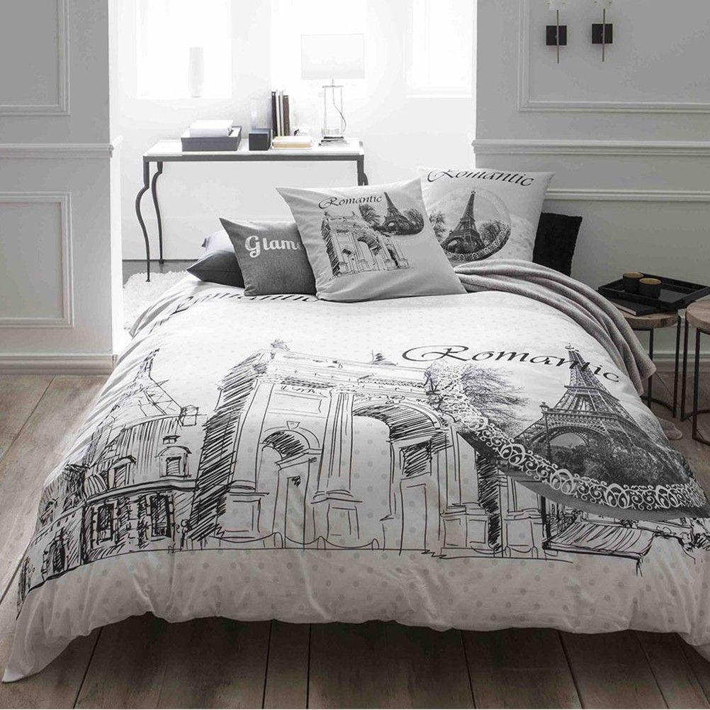housse de couette paris romantic et deux taies 220 x 240 cm. Black Bedroom Furniture Sets. Home Design Ideas