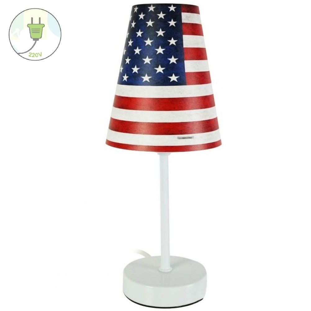 lampe de chevet usa flag vintage. Black Bedroom Furniture Sets. Home Design Ideas