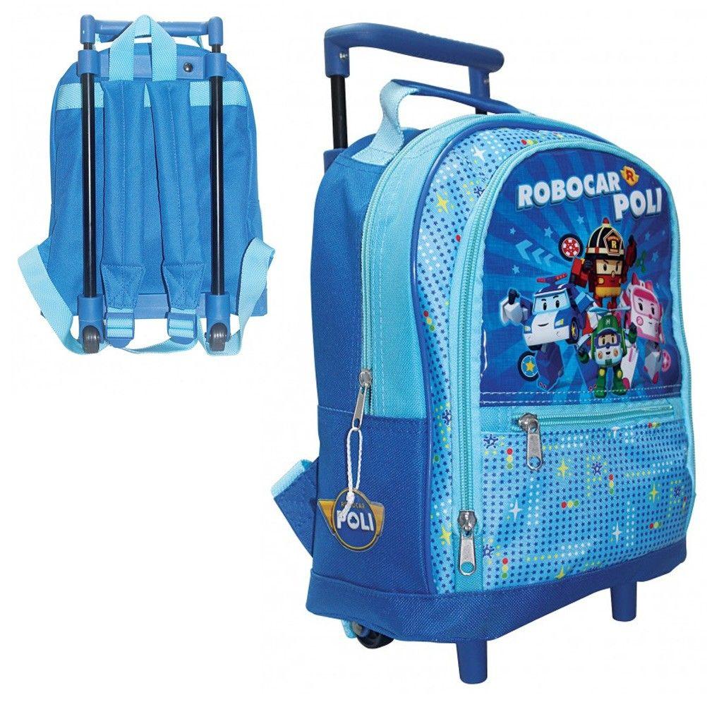 sac dos trolley robocar poli bleu maternelle et cr che. Black Bedroom Furniture Sets. Home Design Ideas