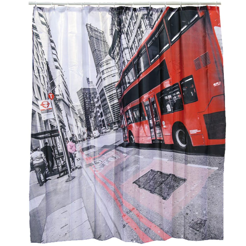rideau de douche london bus 180 x 180 cm. Black Bedroom Furniture Sets. Home Design Ideas