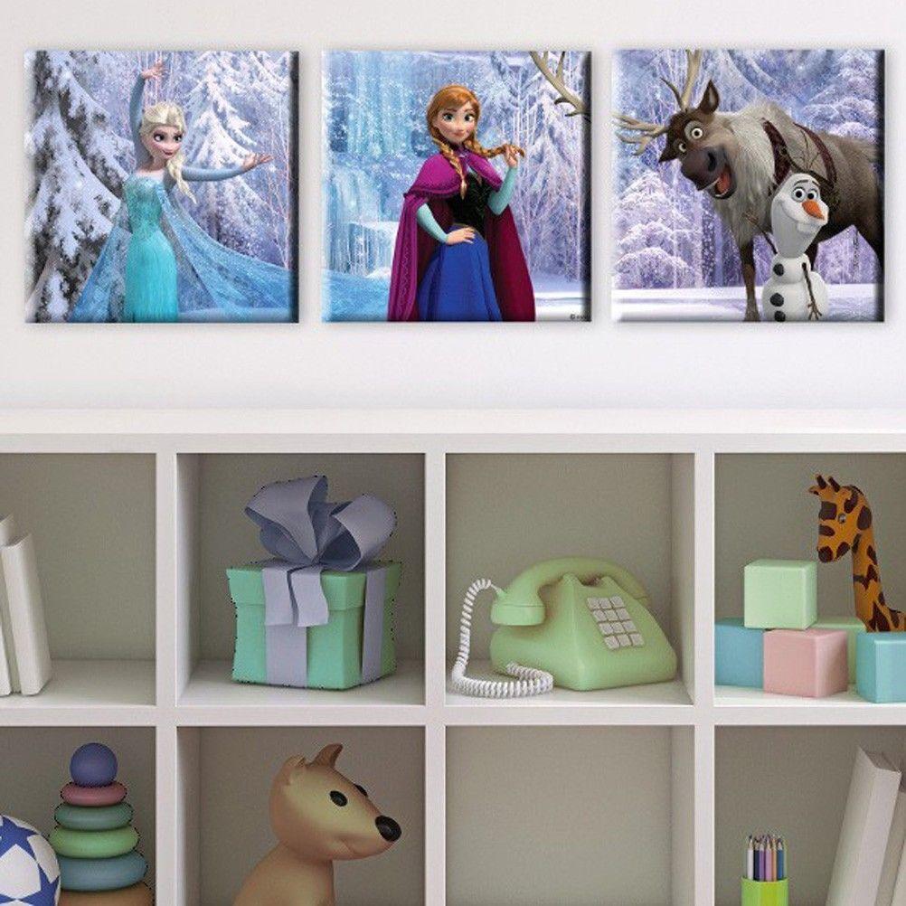 cadres triptyque frozen la reine des neiges. Black Bedroom Furniture Sets. Home Design Ideas