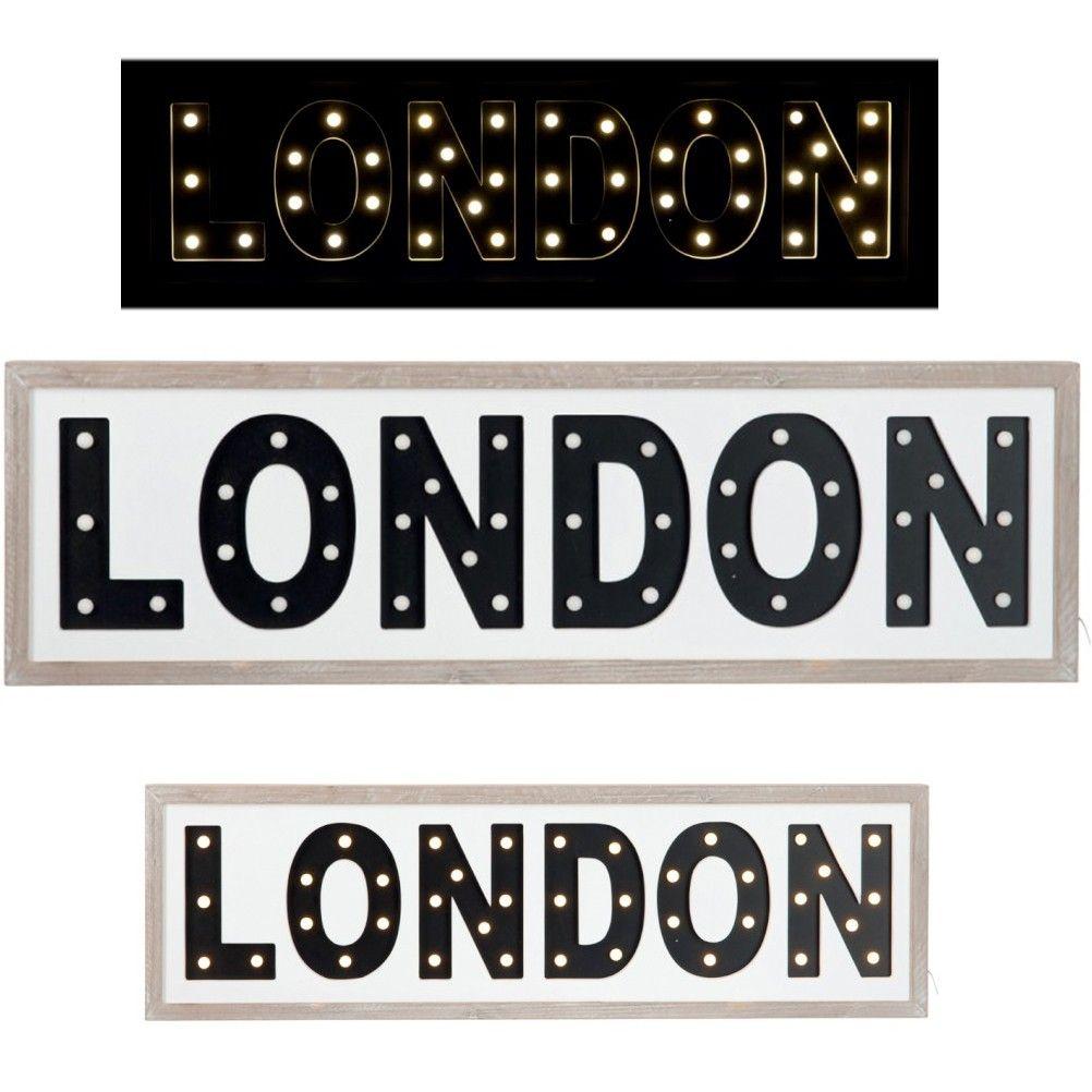 lampe bureau cadeau d coration design r tro vintage panneau london lumineux led cadre en bois. Black Bedroom Furniture Sets. Home Design Ideas