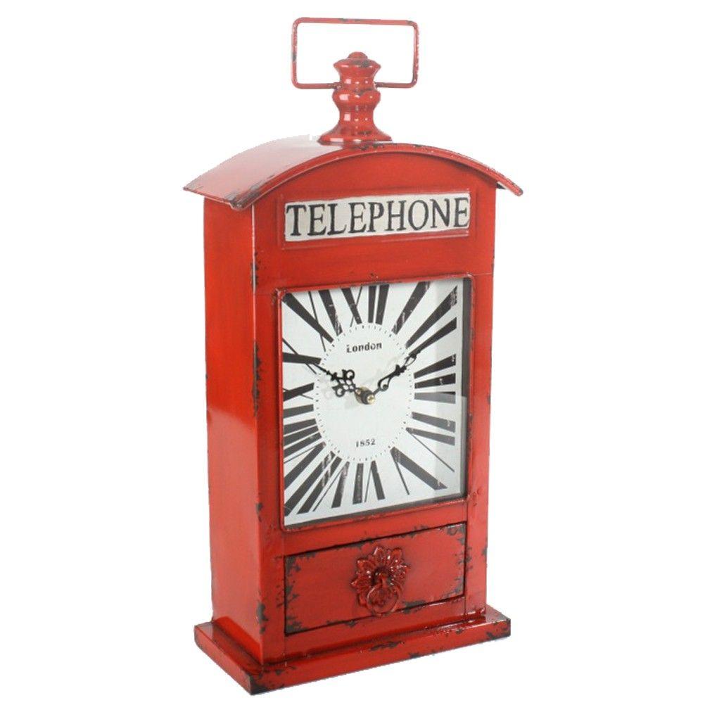 horloge d coration pendule cuisine horloge london ancienne cabine de t l phone anglaise poser. Black Bedroom Furniture Sets. Home Design Ideas