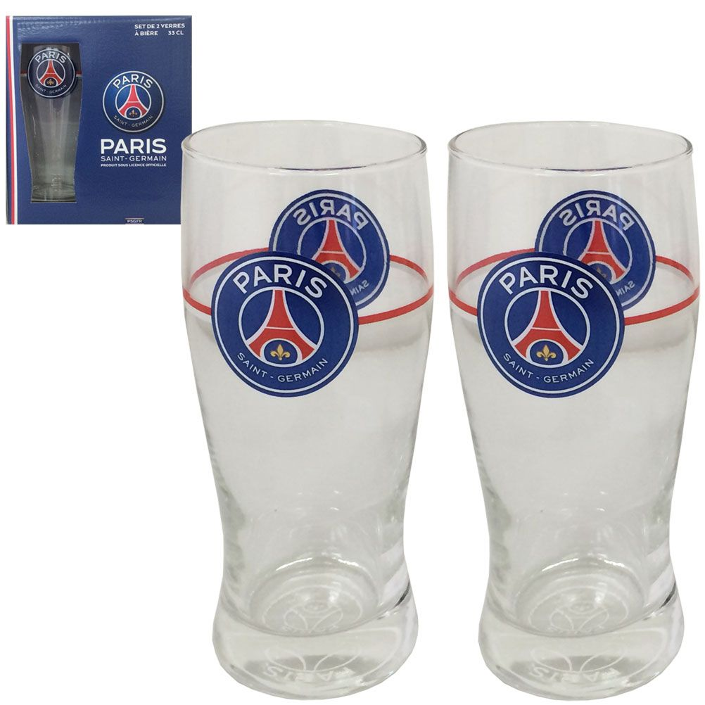 Verres bi re paris saint germain psg en set de 2 for Set de table verre