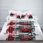Housse de couette London Bus 240 x 220 cm et 2 taies