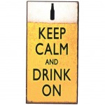 Magnet Keep Calm And Drink On - mini plaque métal 10 x 5 cm