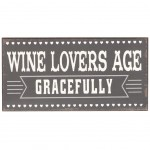 Magnet Wine Lovers Age Gracefully - mini plaque métal 10 x 5 cm
