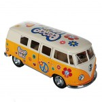 Combi Volkswagen Jaune Peace and Love à friction T1Bus 1962