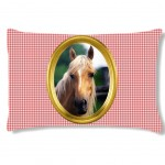 Coussin Cheval sur fond vichy by Cbk