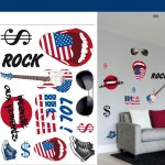 Planche de stickers muraux repositionnables USA