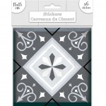 Stickers carreaux de ciment 15 x 15 cm - par 6 - Gris