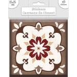 Stickers carreaux de ciment 15 x 15 cm - par 6 - Gris et Brun