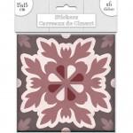 Stickers carreaux de ciment 15 x 15 cm - par 6 - Marron