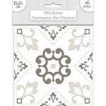 Stickers carreaux de ciment 15 x 15 cm - par 6 - Blanc