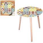 Table d'appoint motif Carreaux de ciment - diamètre 40 cm
