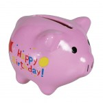 Tirelire cochon rose en céramique miniature Happy Birthday