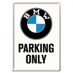 Plaque métal BMW Parking Only - carte postale 10 x 14 cm