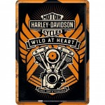 Carte postale plaque métal Harley Davidson Wild at Heart