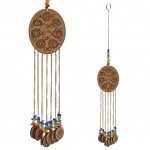 Suspension Feng Shui sept chakra en bois 40 cm