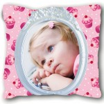 Coussin cupcakes avec PHOTO PERSONNALISEE